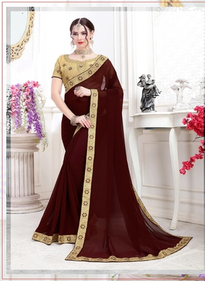 Brown embroidered chiffon saree with blouse