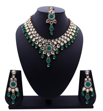 Lalso Designer Kundan Stone Green Drops Antique Gold Link Necklace Earring Maangtikka Jewelry Set - LLKNS01_GR