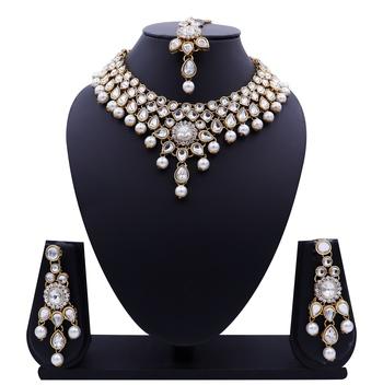 Lalso Designer Kundan Stone White Drops Antique Gold Link Necklace Earring Maangtikka Jewelry Set - LLKNS01_WT