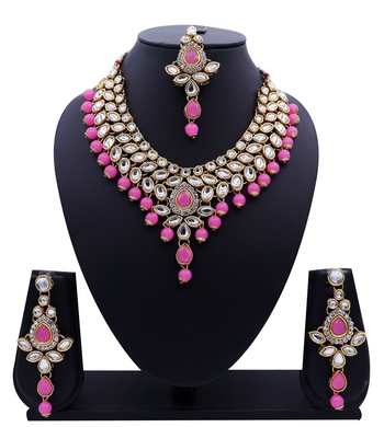 Lalso Designer Kundan Stone Baby Pink Drops Antique Gold Link Necklace Earring Maangtikka Jewelry Set - LLKNS02_BP