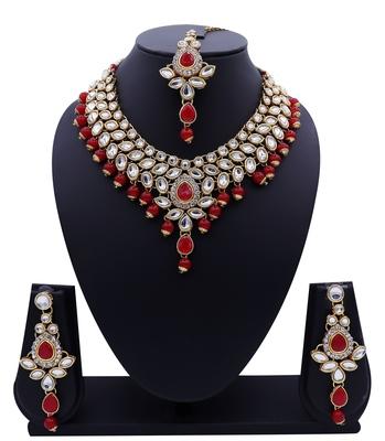 Lalso Designer Kundan Stone Red Drops Antique Gold Link Necklace Earring Maangtikka Jewelry Set - LLKNS02_RD