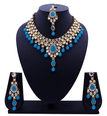 Lalso Designer Kundan Stone Firozi Drops Antique Gold Link Necklace Earring Maangtikka Jewelry Set - LLKNS03_FZ