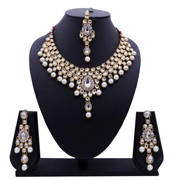 Lalso Designer Kundan Stone White Drops Antique Gold Link Necklace Earring Maangtikka Jewelry Set - LLKNS03_WT