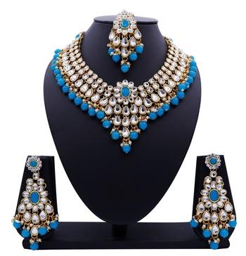 Lalso Designer Kundan Stone Firozi Drops Antique Gold Link Necklace Earring Maangtikka Jewelry Set - LLKNS05_FZ