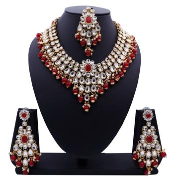 Lalso Designer Kundan Stone Red Drops Antique Gold Link Necklace Earring Maangtikka Jewelry Set - LLKNS05_RD
