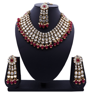 Lalso Designer Kundan Stone Maroon Drops Antique Gold Link Necklace Earring Maangtikka Jewelry Set - LLKNS06_MR