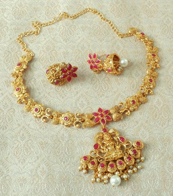 Lalso Designer Ruby Delicate Gold Plated Laxmi Temple South Necklace Earring Set - LSDN01_RB