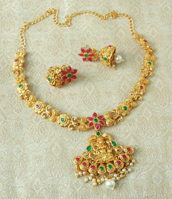 Lalso Designer Ruby Green Delicate Gold Plated Laxmi Temple South Necklace Earring Set - LSDN01_RG