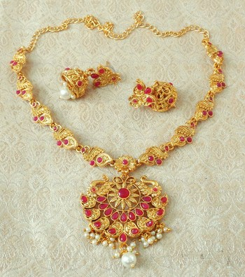 Lalso Designer Ruby Delicate Gold Plated Laxmi Temple South Necklace Earring Set - LSDN02_RB