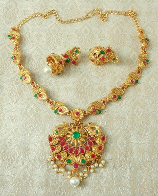 Lalso Designer Ruby Green Delicate Gold Plated Laxmi Temple South Necklace Earring Set - LSDN02_RG