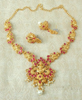 Lalso Designer Ruby Delicate Gold Plated Laxmi Temple South Necklace Earring Set - LSDN03_RB