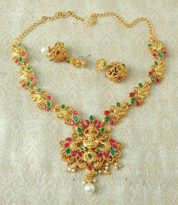 Lalso Designer Ruby Green Delicate Gold Plated Laxmi Temple South Necklace Earring Set - LSDN03_RG