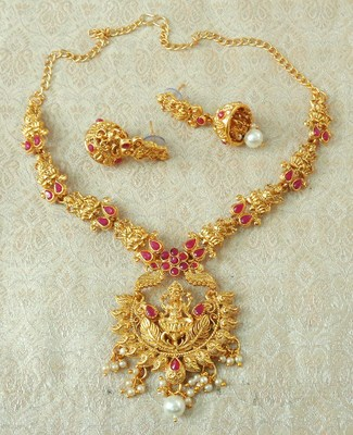 Lalso Designer Ruby Delicate Gold Plated Laxmi Temple South Necklace Earring Set - LSDN04_RB