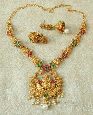 Lalso Designer Ruby Green Delicate Gold Plated Laxmi Temple South Necklace Earring Set - LSDN04_RG