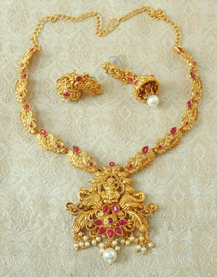 Lalso Designer Ruby Delicate Gold Plated Laxmi Temple South Necklace Earring Set - LSDN05_RB