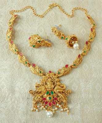 Lalso Designer Ruby Green Delicate Gold Plated Laxmi Temple South Necklace Earring Set - LSDN05_RG