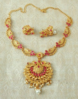Lalso Designer Ruby Delicate Gold Plated Laxmi Temple South Necklace Earring Set - LSDN06_RB