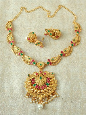 Lalso Designer Ruby Green Delicate Gold Plated Laxmi Temple South Necklace Earring Set - LSDN06_RG