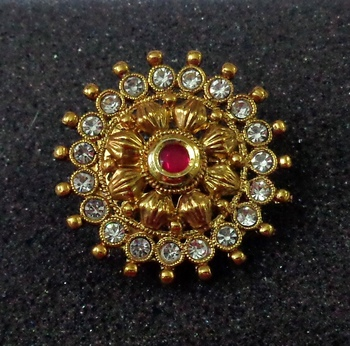 Lalso Royal Ruby Kundan Adjustable Free Size Gold Plated Finger Ring - LKFR01_RB