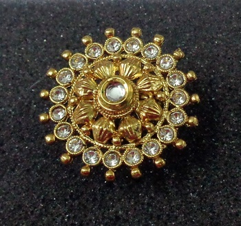 Lalso Royal White Kundan Adjustable Free Size Gold Plated Finger Ring - LKFR01_WT