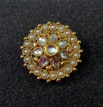 Lalso Royal White Kundan Pearls Adjustable Free Size Gold Plated Finger Ring