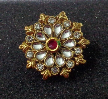 Lalso Royal Ruby Kundan Adjustable Free Size Gold Plated Finger Ring