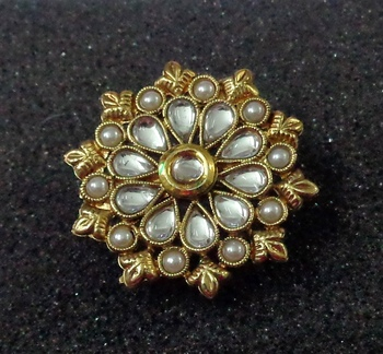 Lalso Royal White Kundan Pearls Adjustable Free Size Gold Plated Finger Ring - LKFR03_WT