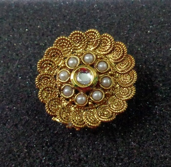 Lalso Royal White Kundan Pearls Adjustable Free Size Gold Plated Finger Ring - LKFR05_WT