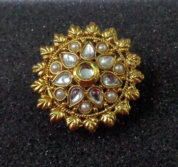 Lalso Royal White Kundan Pearls Adjustable Free Size Gold Plated Finger Ring - LKFR06_WT