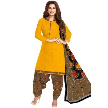 Yellow printed cotton salwar