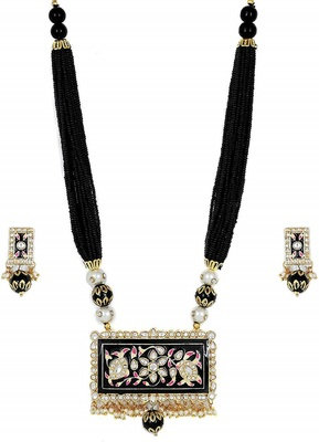 Meenakari Black Agate Necklace Sets