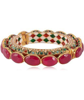 Gold Plated Pearl Kada Jadau Meenakari Antique Rajwada Royal Rajasthani Bangle for Women