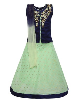 Girl'S   Turquoise Slik Lehenga Choli And Dupatta Set