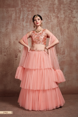 Peach embroidered net unstitched lehenga