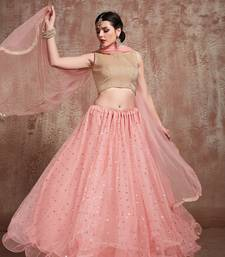 Baby-Pink Embroidered Net Unstitched Lehenga