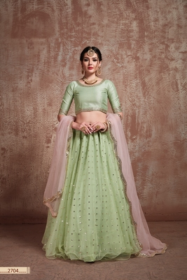 Light-green embroidered net unstitched lehenga