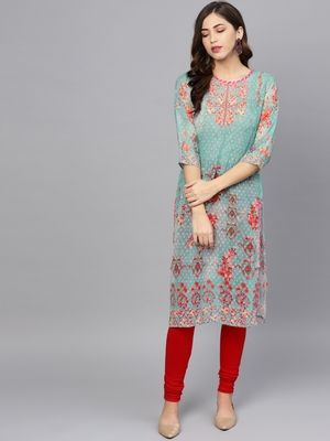 Multicolor printed georgette ethnic-kurtis