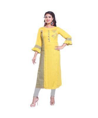 Yellow embroidered Kurta For Women