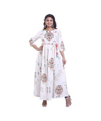 Cream Embellished Long Anarkali For Women