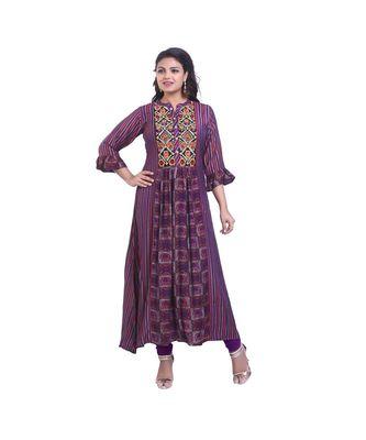 Purple Printed Maxi Dress For Women