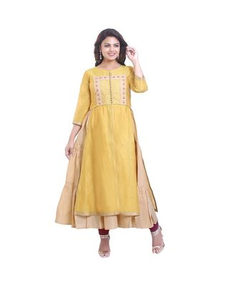 Yellow embroidered Long Gown For Women