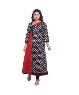 Brown & Red Long Kurta For Women