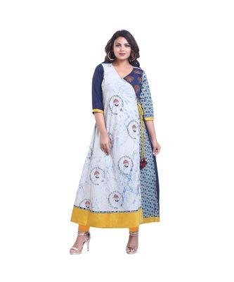Blue Printed and embroidered Designer Anarkali For Women