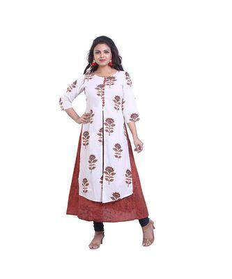 Brown & white Embellish Designer Kurta For Women