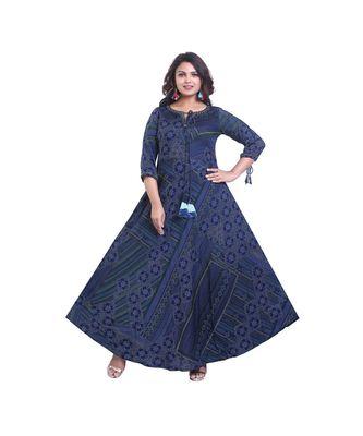 Blue Printed Designer Long Anarkali For Women