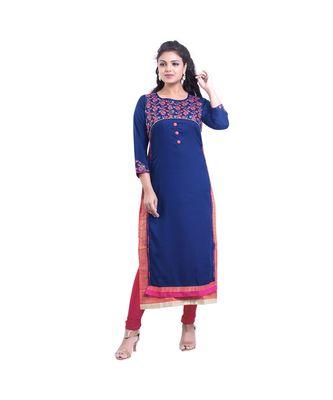 Designer Blue embroidered Kurta For Women