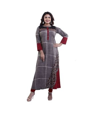 Designer beige Printed Anarkali Kurta For Women