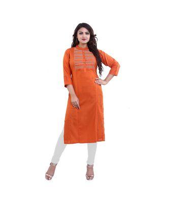 Orange embroidered Kurti For Women