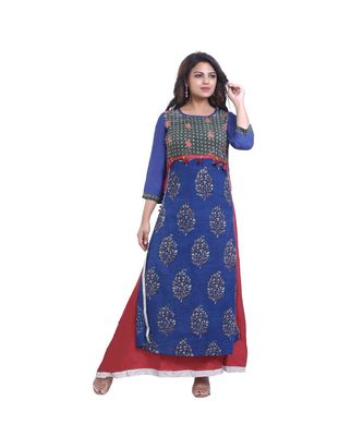 Blue Printed & embroidered Designer Kurta  For Women