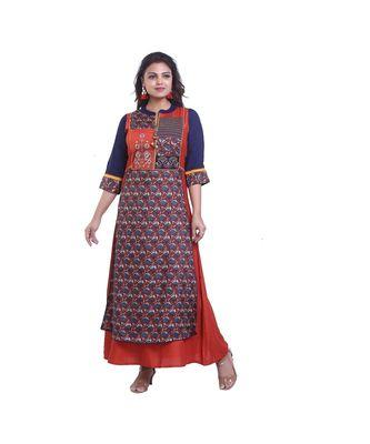 Blue & Brown Designer Embellished Kurta For Women
